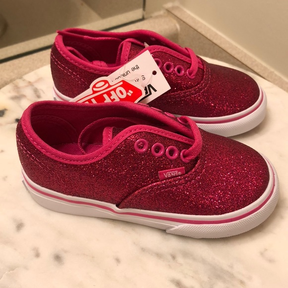 NWT Vans toddler pink glitter shoes 709690a2c